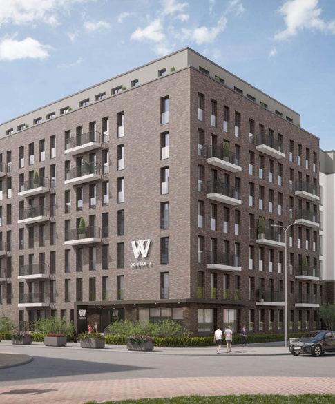 Weitwinkel-Ansicht des neuen zweiten Serviced Apartment Gebäudes in Frankfurt