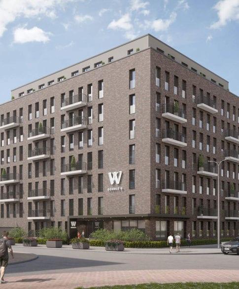 Serviced Apartments Frankfurt Weitwinkel-Ansicht des neuen zweiten Serviced Apartment Gebäudes in Frankfurt